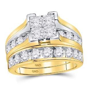 14kt Yellow Gold Princess Diamond Bridal Wedding Ring B