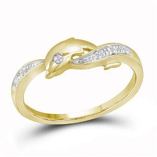 10kt Yellow Gold Womens Round Diamond Two-tone Dolphin