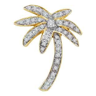 14kt Yellow Gold Womens Round Diamond Palm Tree Nautica
