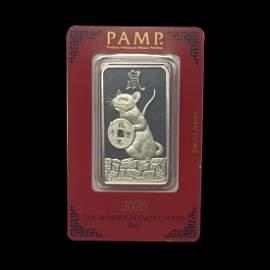 PAMP Suisse Silver Bar 1 oz - 2020 Rat Design