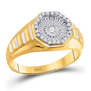 14kt Yellow Gold Mens Round Diamond Two-tone Concave Cl