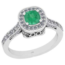 Certified 1.01 Ctw I2/I3 Emerald And Diamond 14K White