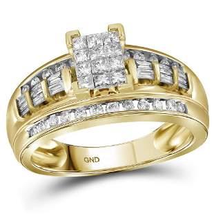 10kt Yellow Gold Princess Diamond Cluster Bridal Weddin