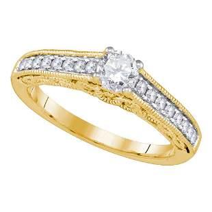 14kt Yellow Gold Round Diamond Solitaire Bridal Wedding