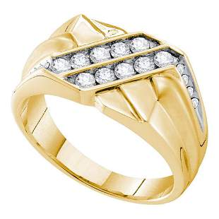 14kt Yellow Gold Mens Round Diamond Square Cluster Ring