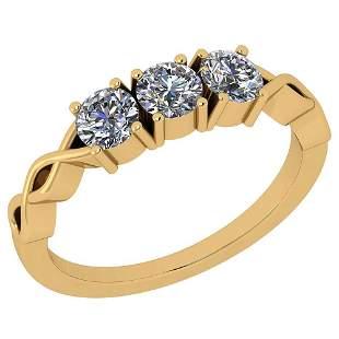 Certified 0.75 Ctw Diamond SI2/I1 14K Yellow Gold Ring