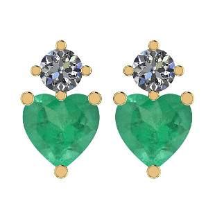 Certified 2.98 Ct Emerald and Diamond SI2/I1 14k Yellow