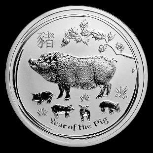 2019 Australia 1/2 oz Silver Lunar Pig