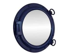 Navy Blue Decorative Ship Porthole Mirror 20in.