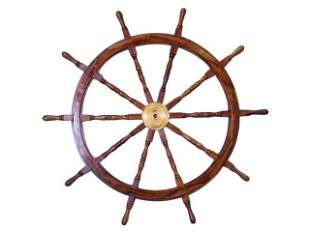 Deluxe Class Wood and Brass Decorative Ship Wheel 60in.