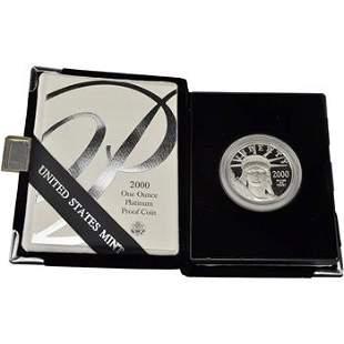 2000 W American Platinum Eagle Proof 1 oz $100 in OGP