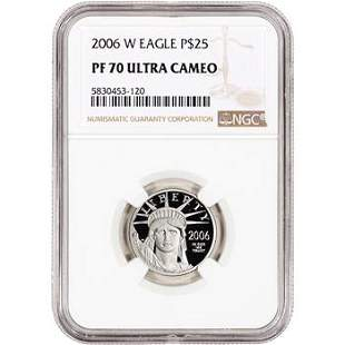 2006 W American Platinum Eagle Proof 1/4 oz $25 NGC PF7