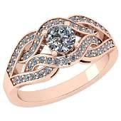 Certified 0.83 Ctw Diamond SI2/I1 14K Rose Gold Ring Si