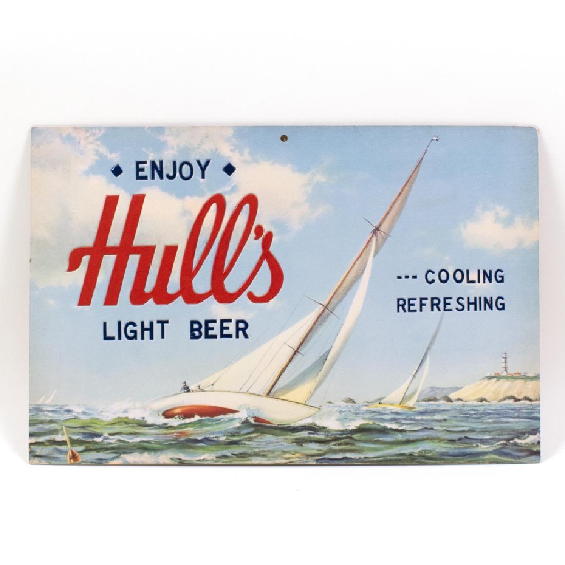Hulls Light Beer Sailboat Nautical Sign