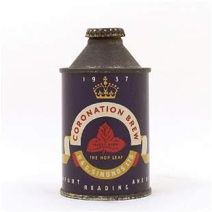 Coronation Brew 1937 Simonds Reading Cone Top Can