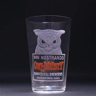 Van Nostrand Owl Musty Pre-Prohibition Etched Drinking