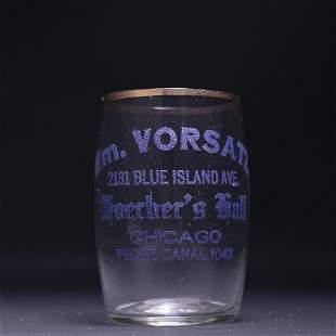 Wm Vorsatz Pre-Prohibition Etched Drinking Glass