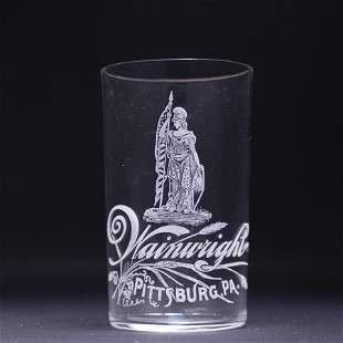 Wainwright Pre-Prohibition Etched Drinking Glass