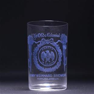 Weinhard Brewing Pre-Prohibition Etched Drinking Glass