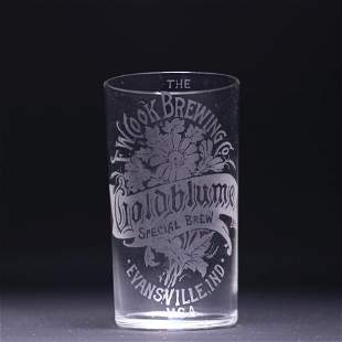 Goldblume Beer Pre-Prohibition Etched Drinking Glass