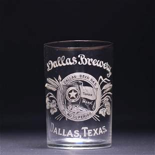 Dallas Brewery Pre-Prohibition Etched Drinking Glass