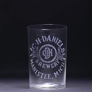 C H Daniels Pre-Prohibition Etched Drinking Glass
