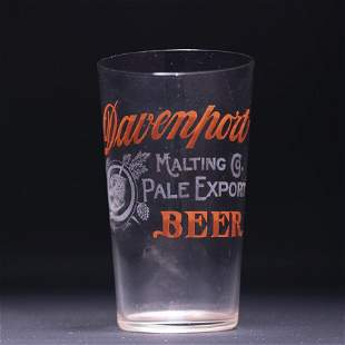Davenport Malting Pre-Prohibition Etched Drinking Glass