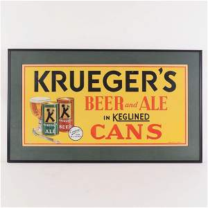 Kruegers In Keglined Cans Tin Sign