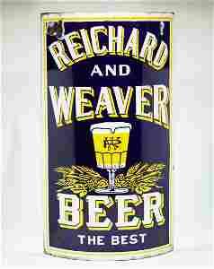Reichard and Weaver Beer Porcelan Corner Sign