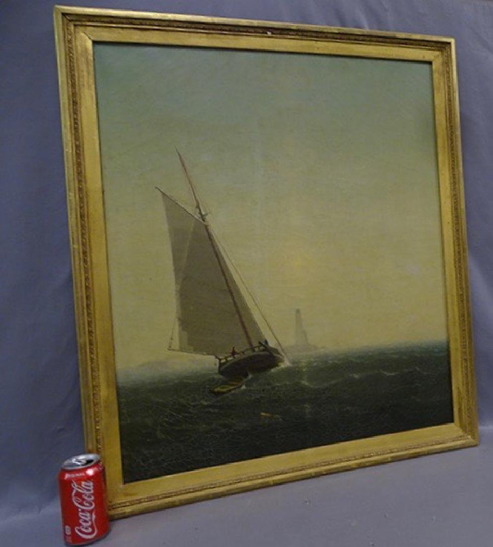 Sailing Ship with Light House Oil on Canvas