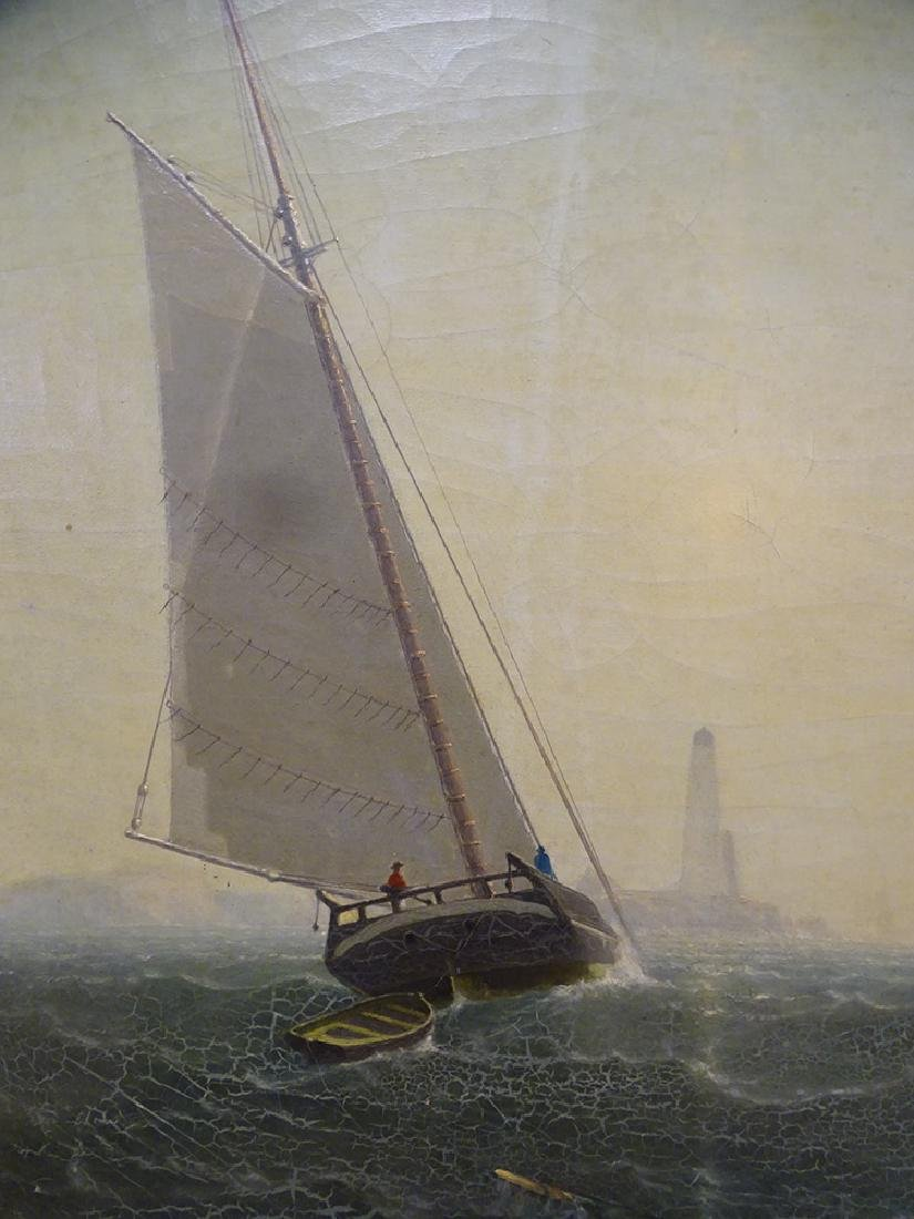 Sailing Ship with Light House Oil on Canvas - 3