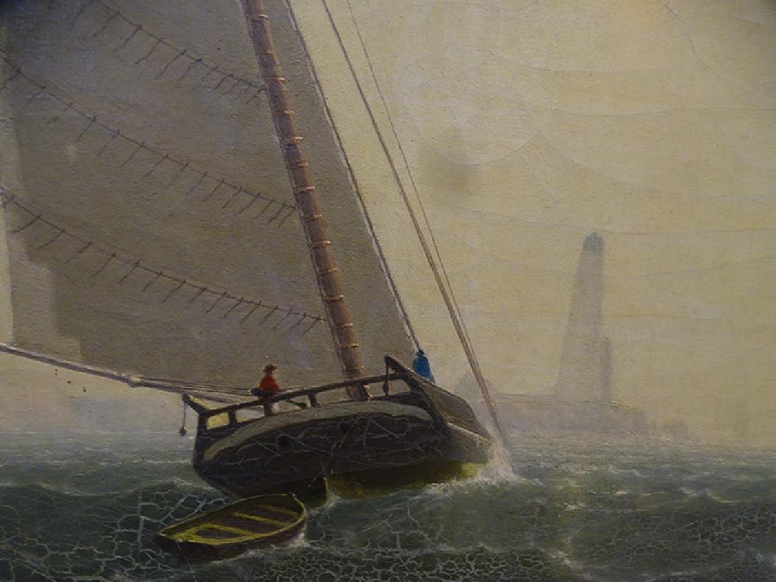 Sailing Ship with Light House Oil on Canvas - 4