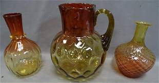 3 Amberina Pitchers and Decanter
