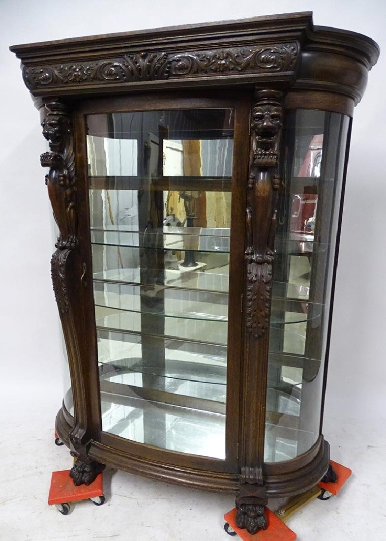 Horner Oak China Cabinet with Lions