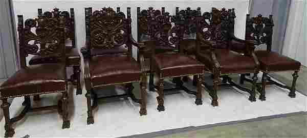 Set of 10 Oak Horner Chairs