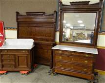 3 Piece Walnut Marble Top Bedroom Set