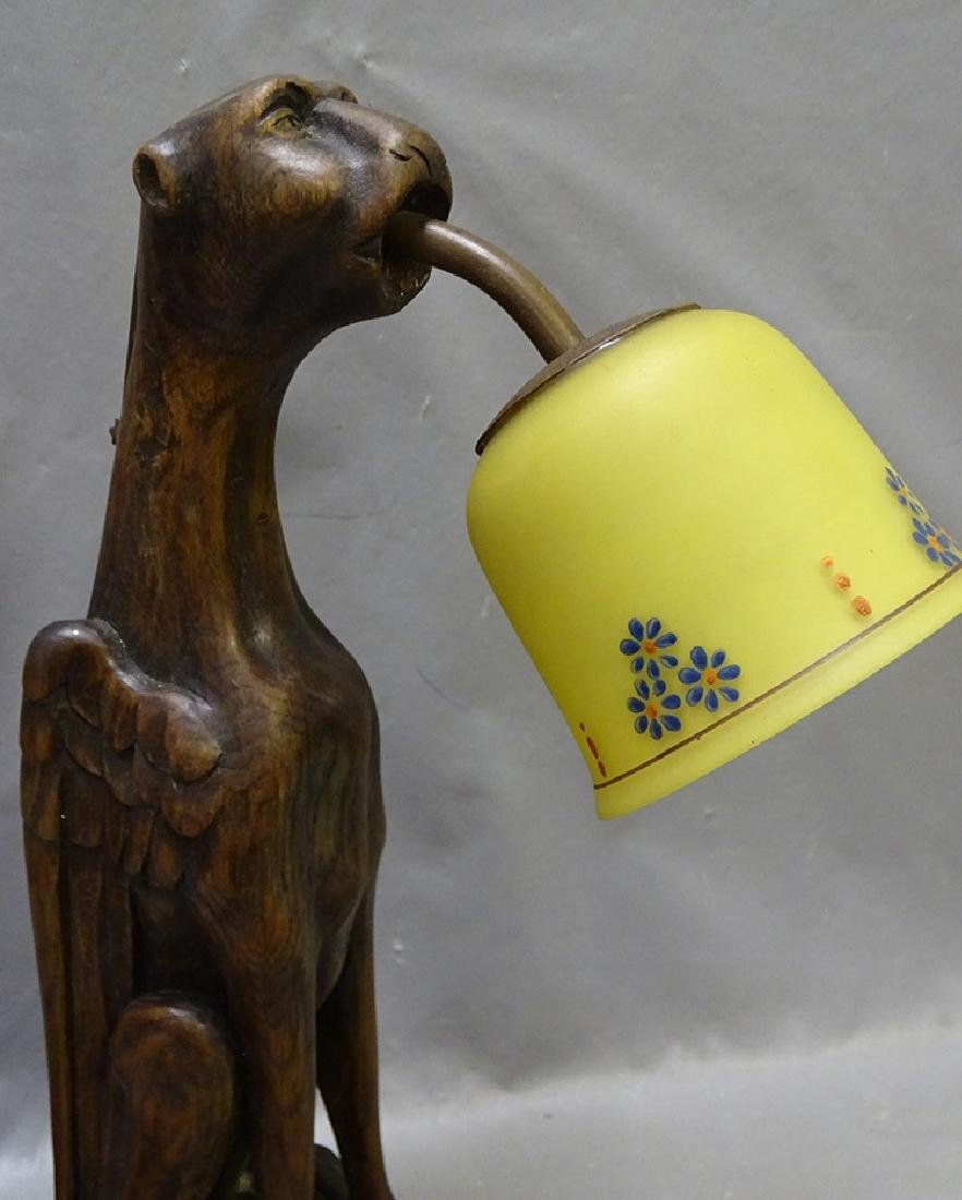 Oak Lamp with Winged Griffin - 2
