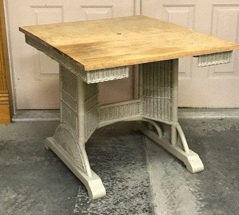Wicker and Oak Table