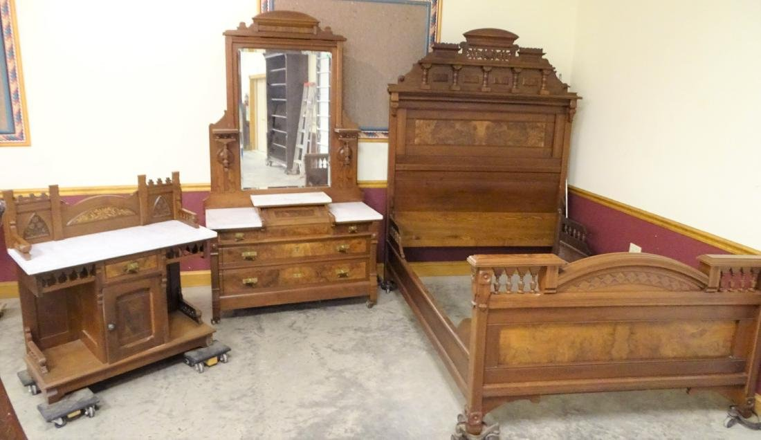 3 Piece Inlaid Victorian Bedroom Set