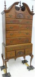 Period 2 Piece Cherry Fan Carved Highboy