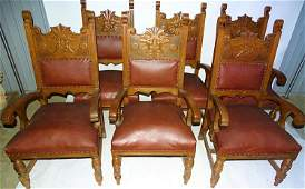Set of 6 Oak Horner Quality Arm Chairs with Heads