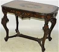 Walnut Renaissance Inlaid Center Table