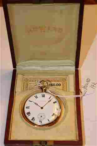 14k Gold Signed Howard Pocket Watch