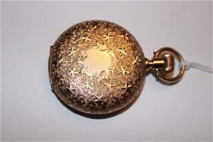 Fancy 14k Gold Case Pocket Watch