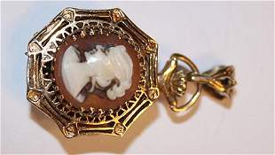 Unusual 14k Gold Watch with Cameo
