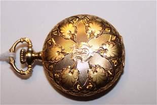 Very Fancy 14k Gold Diamond Cut Pocket Watch