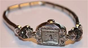 14k Gold Ladies Wrist Watch with Diamonds