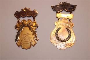 (2) Fancy 14k Gold Medals