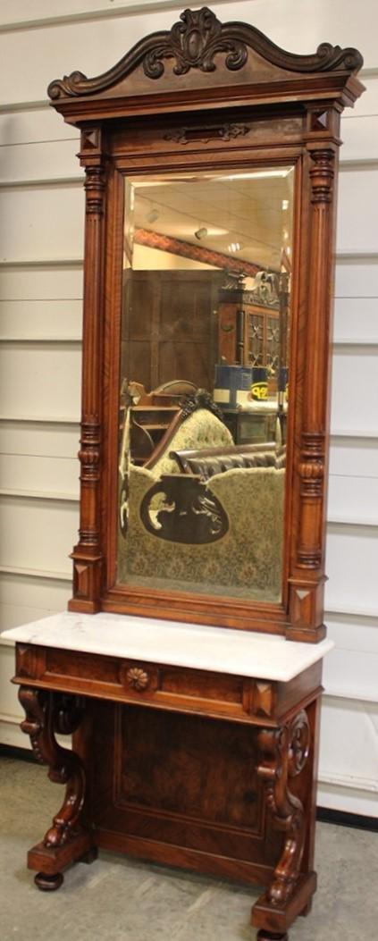 Nice 2 Piece Victorian Marble Top Hall Mirror