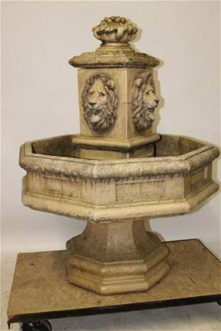 Large Vintage Concrete Fountain with Lions